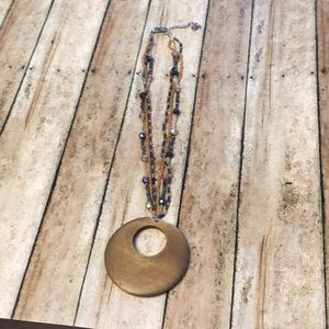 Brown Wooden and Beaded Pendant Necklace